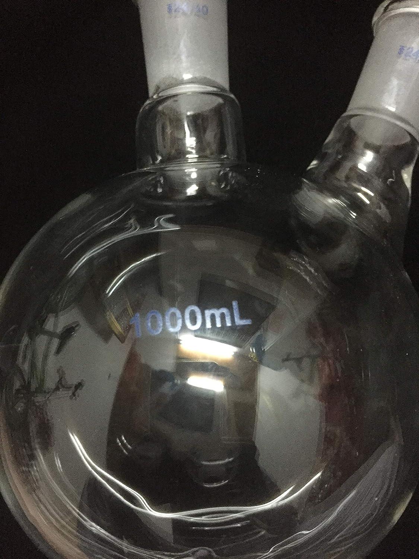 2-Neck Round Bottom Flask Labwang 24//40 1000ml