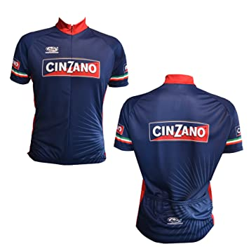 CINZANO Short Sleeve Cycle Jersey in Blue Made in Italy by Pella (large) 374588017