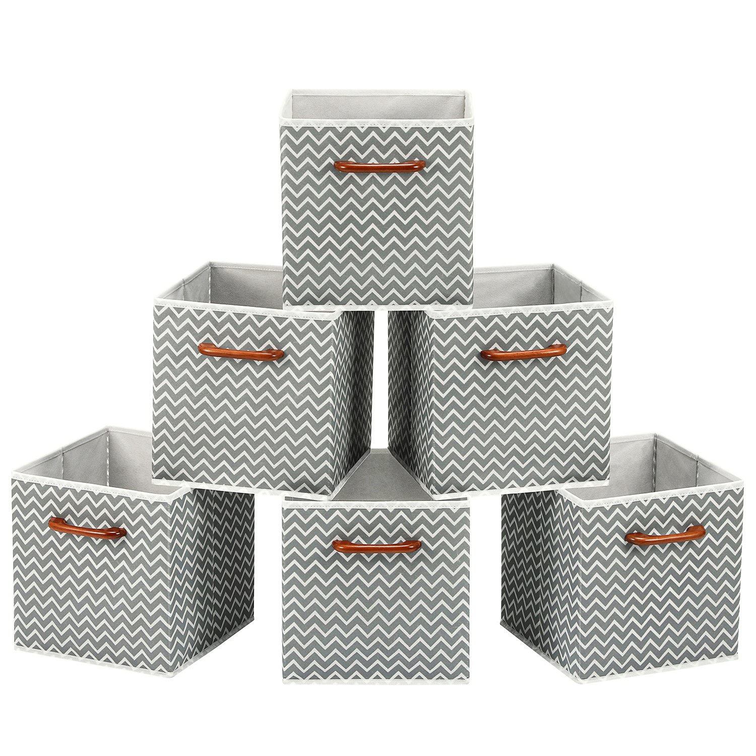 MaidMAX Cloth Storage Bins Cubes Baskets Containers with Wooden Handle for Home Closet Bedroom Drawers Organizers, Foldable, Gray Chevron, Set of 6 by MaidMAX