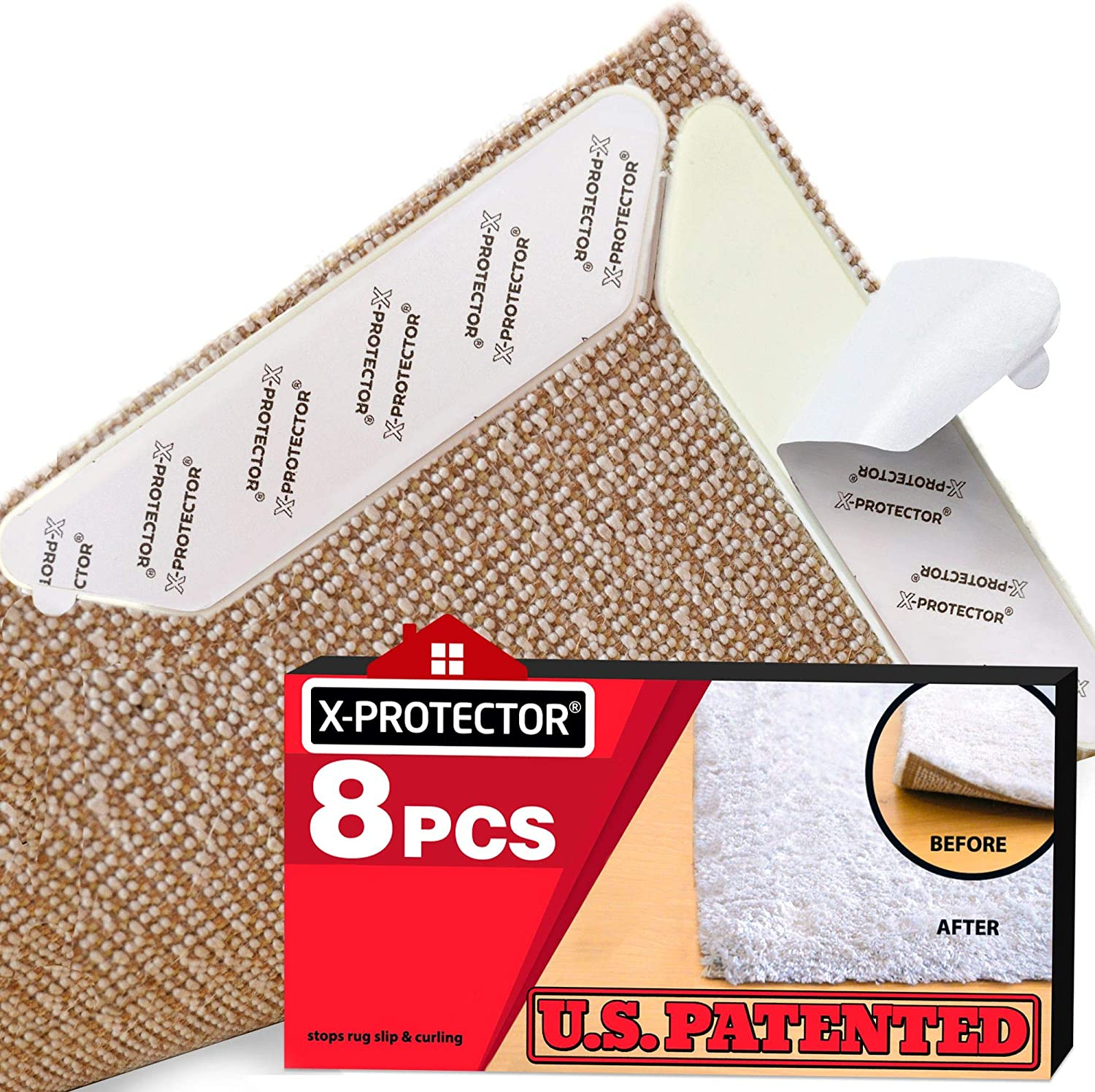 Rug Grippers X-PROTECTOR - New 8 pcs Anti Curling Rug Gripper - Rug Pad - Keeps Your Rug in Place & Corners Flat - Carpet Gripper Renewable Gripper Tape - Rug Tape. Original Brand - Avoid The Copies! - -