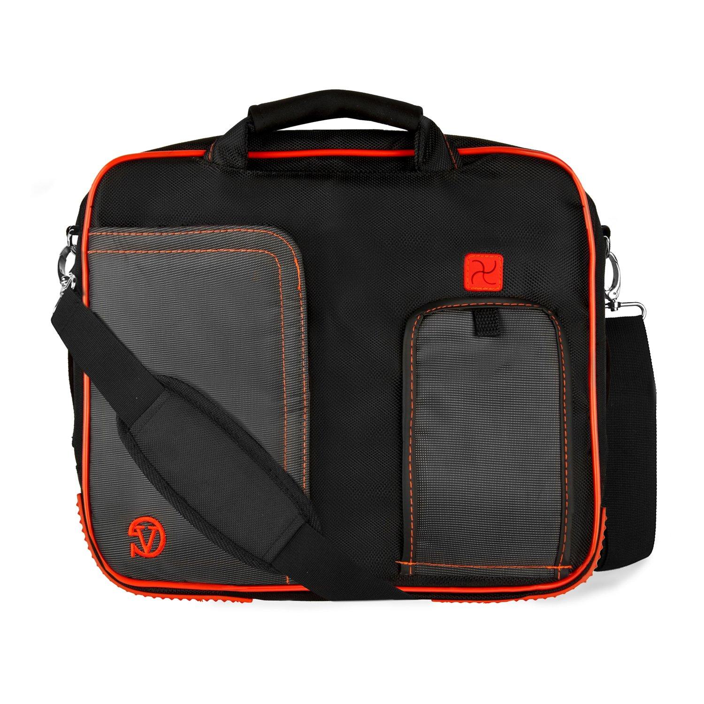 Vangoddy Barnes & Noble NOOK HD+ 9 キャリーショルダーメッセンジャーバッグ ブラックとクリムゾン 軽量 保護ケース   B009OSWM6E