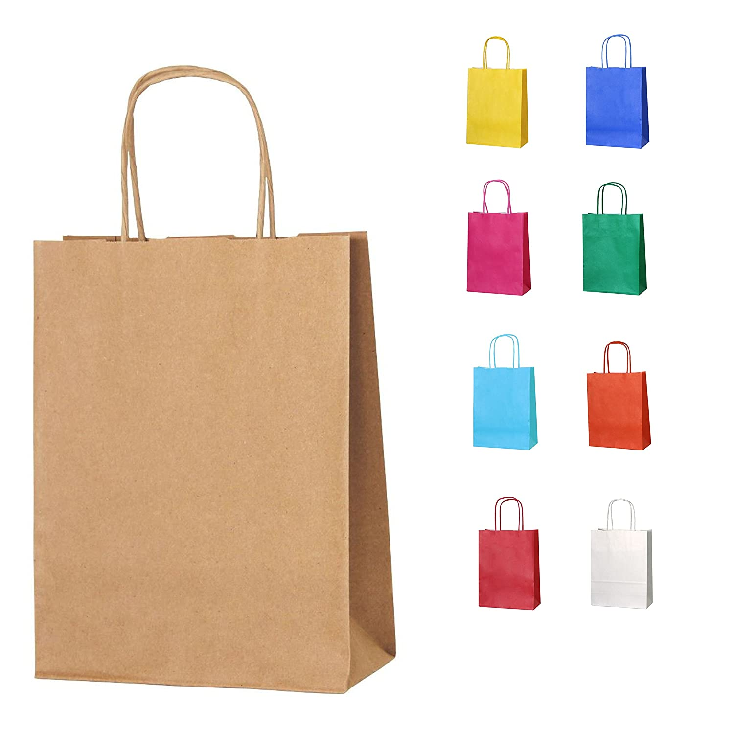 Colorful Paper Gift Bags Solid Matte Colors Birthday Party Favor Bags w// Handles