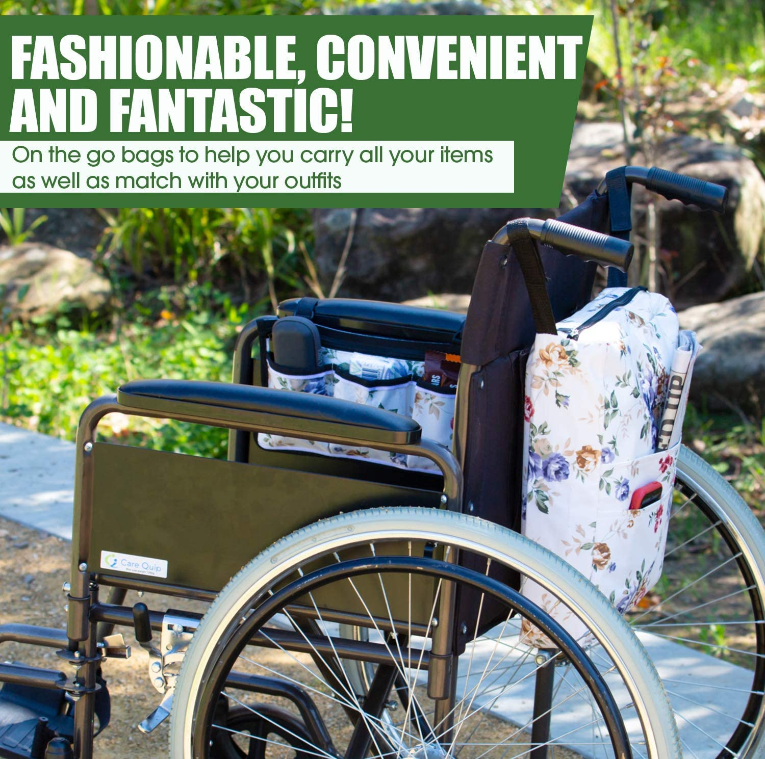 Two Bags Wheelchair Accessories by Astrata - Backpack Storage and Armrest Side Organizer - Lightweight Wheelchair Rollator Walker Bag - Organizers and Storage Travel Items (Floral): Health & Personal Care