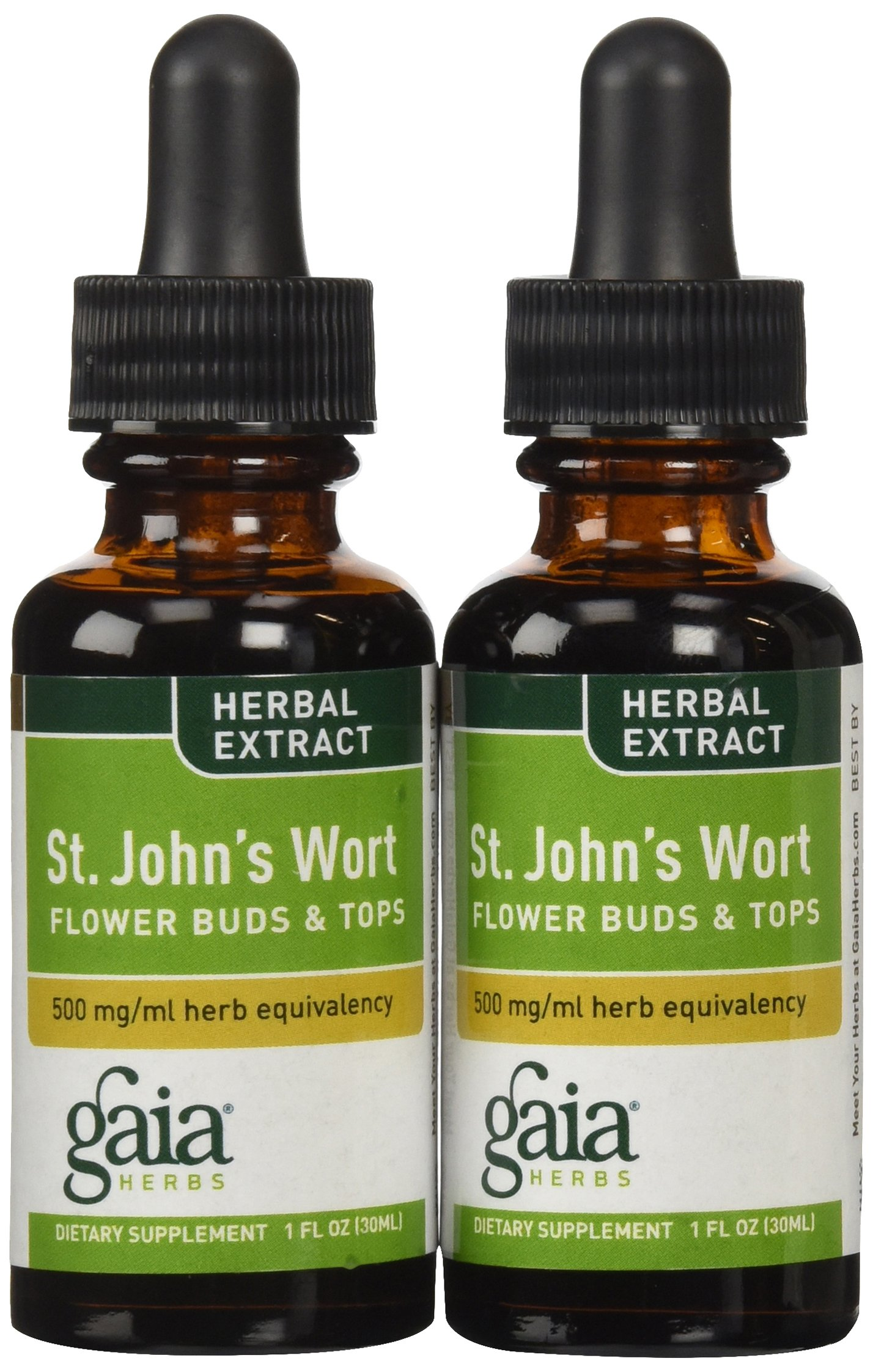 Gaia Herbs St. John's Wort, Liquid Supplement, 1 Ounce (Pack of 2) - Mood Support, Promotes a Positive and Sunny Mood