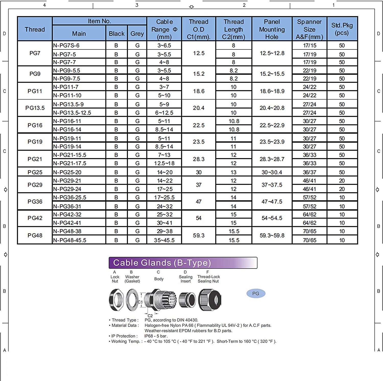 Presse-/étoupes en plastique PG13.5 Presse-/étoupe en plastique noir IP68 Presse-/étoupe /étanche /Ø 6mm-12mm Paquet de 20 PG13.5 20pcs