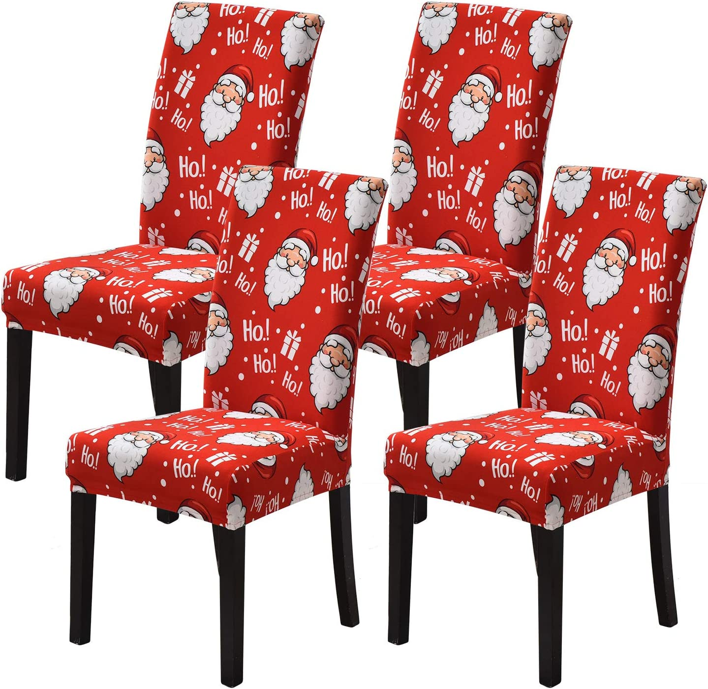 orrhomi 4PCS Stretch Removable Washable Dining Room Chair Protector Slipcovers Christmas Decoration/Home Decor Dining Room Hotel, Ceremony Seat Cover (Santa Claus)