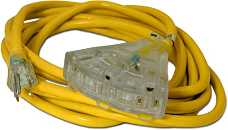 MADE IN USA 25/' 12 Gauge Yellow Extension Cord w Lighted Triple Outlet