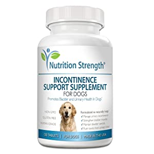 Nutrition Strength Dog Incontinence Support, Supplement for Dog Bladder Health, Organic Support for Dogs Leaking Urine, Promotes Dog Bladder Control, 120 Chewable Tablets