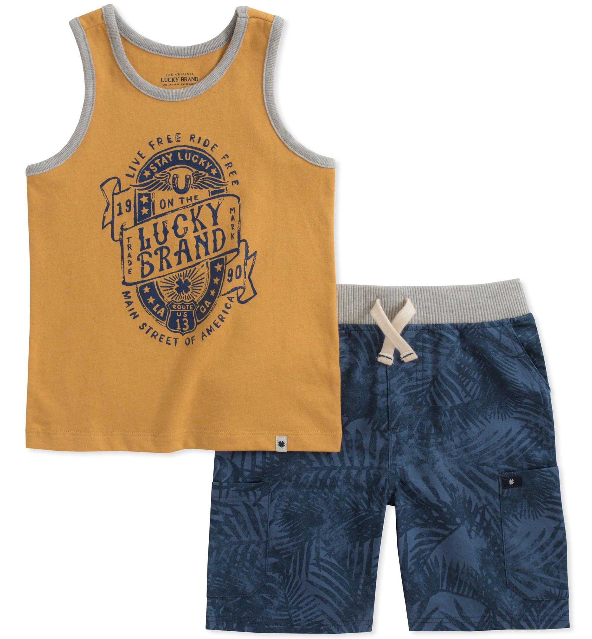 Lucky Brand Boys' Little Tank Top Shorts Set, Yellow, 6