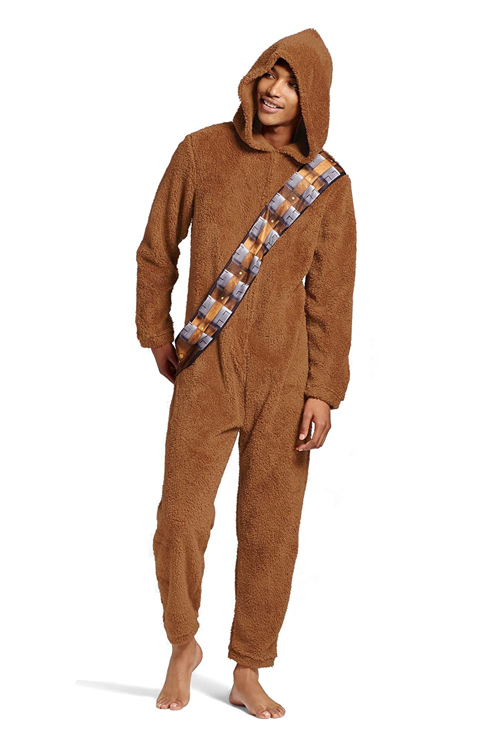 Star Wars Mens Chewbacca Adult Union Suit Hooded Pajama Costume