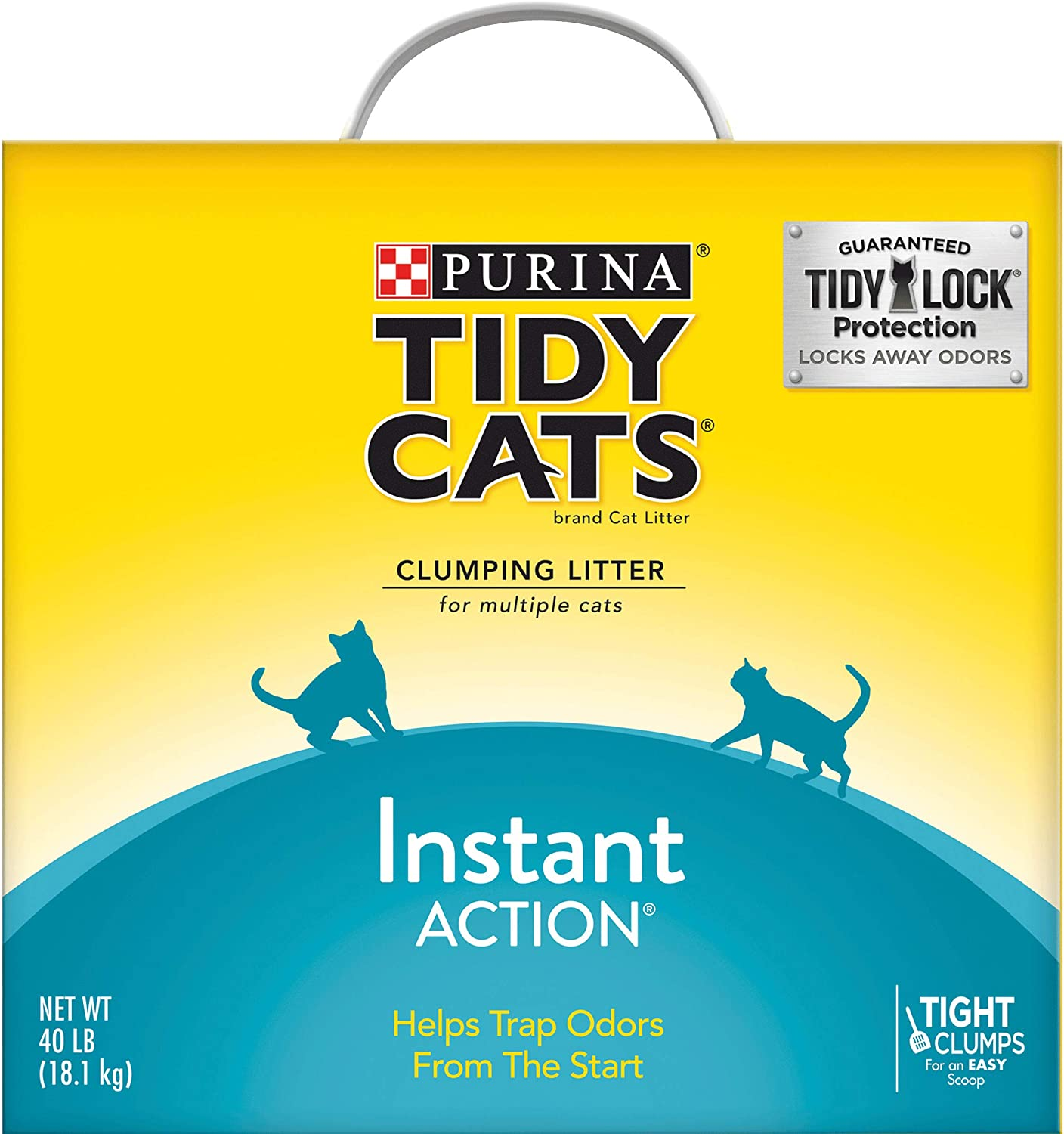 Purina Tidy Cats Clumping Cat Litter, Instant Action Multi Cat Litter - 40 lb. Box : Pet Odor And Stain Removers : Pet Supplies