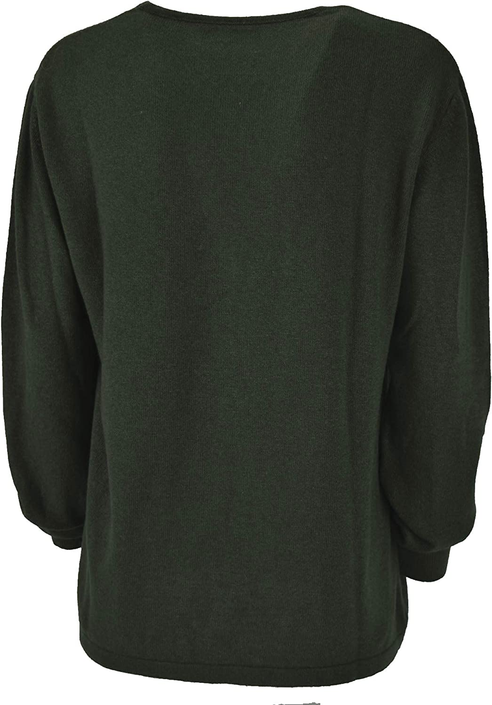 pratino Maglia Donna Girocollo Cachemere Seta Nero, Rosso, Bianco, Verde - vestibilità Comoda Verde