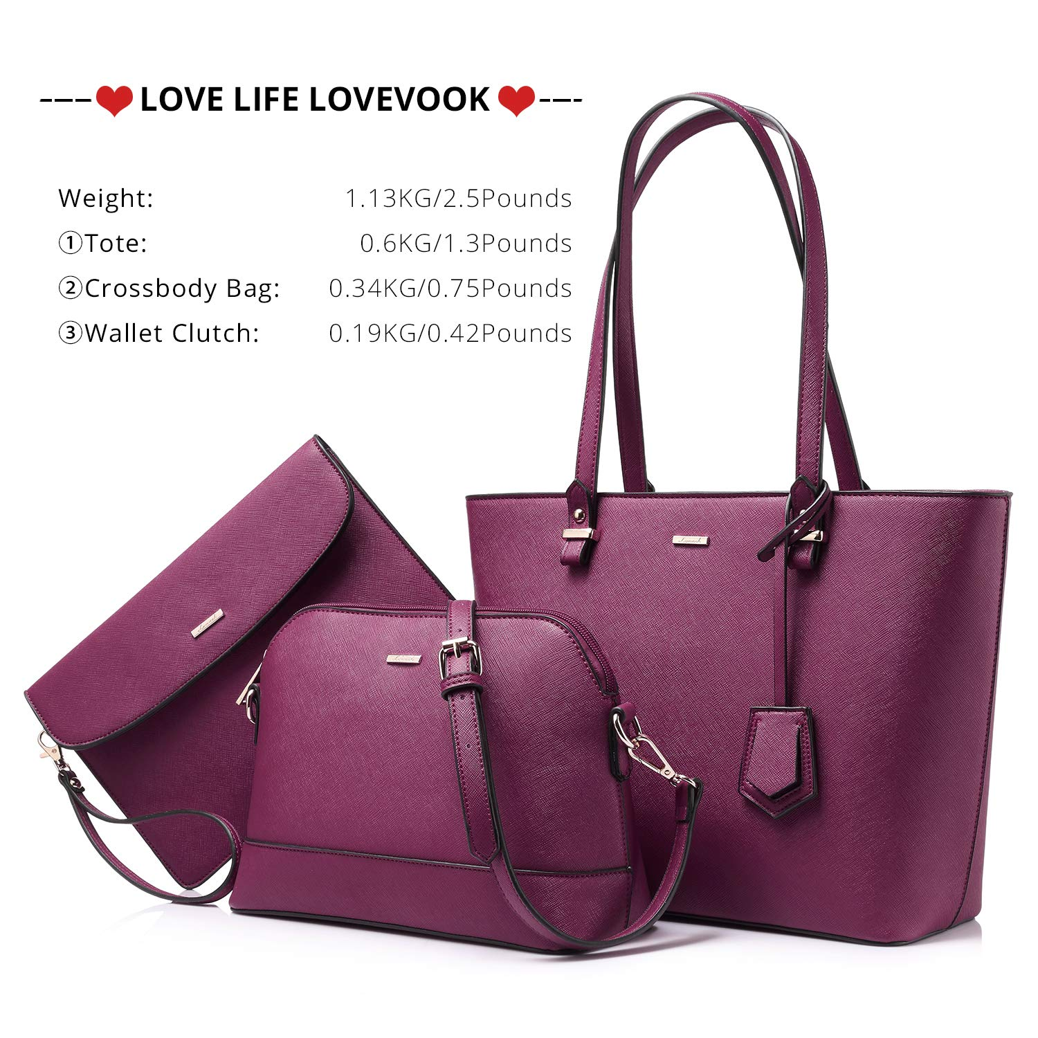 Handbags for Women Tote Bag Shoulder Bags Fashion Satchel Top Handle Structured Purse Set Designer Purses 3PCS PU Stand Gift Sexy Purple by LOVEVOOK (Image #6)