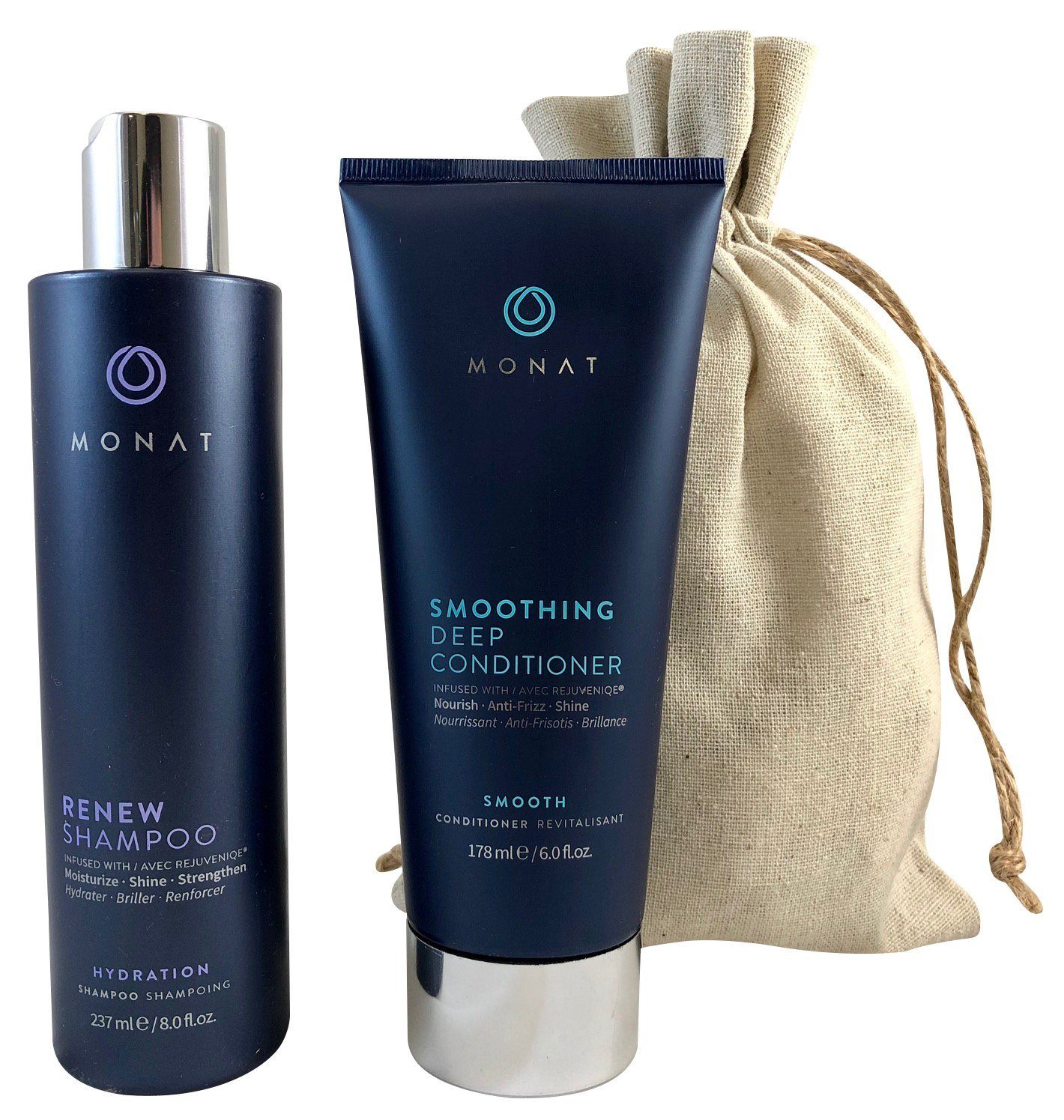 Amazon Com Monat Renew Shampoo And Smoothing Deep Conditioner With Free Linen Bag Bundle Beauty