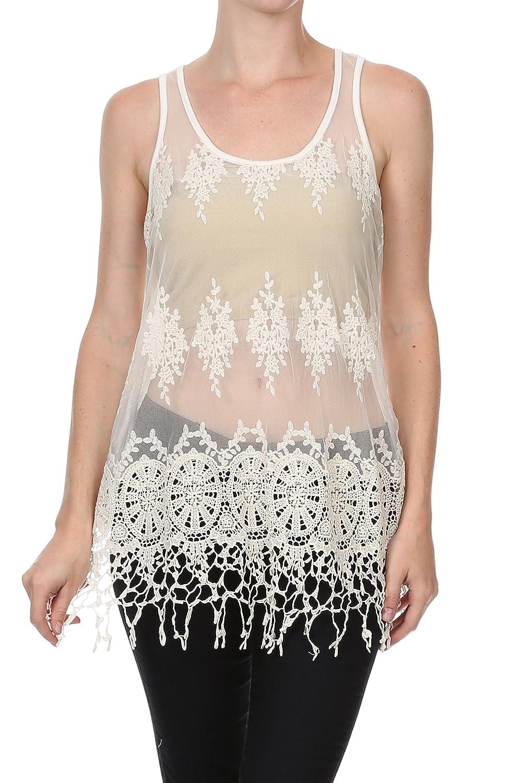 444ccefa4ea ... Off White Beige Cream Boho Chic Bohemian Crocheted Crochet Floral  Pattern Tribal Patterned Sheer Mesh Layering Overlay Sleeveless Shirt  Blouse Tank Top ...
