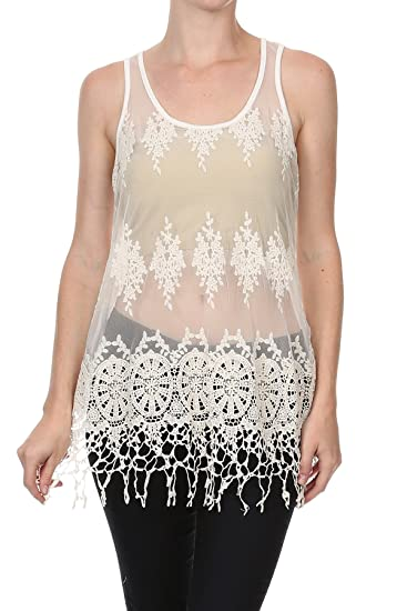 09a29dadf94311 MeshMe Womens Off White Beige Cream Boho Chic Bohemian Crocheted Crochet  Floral Pattern Tribal Patterned Sheer