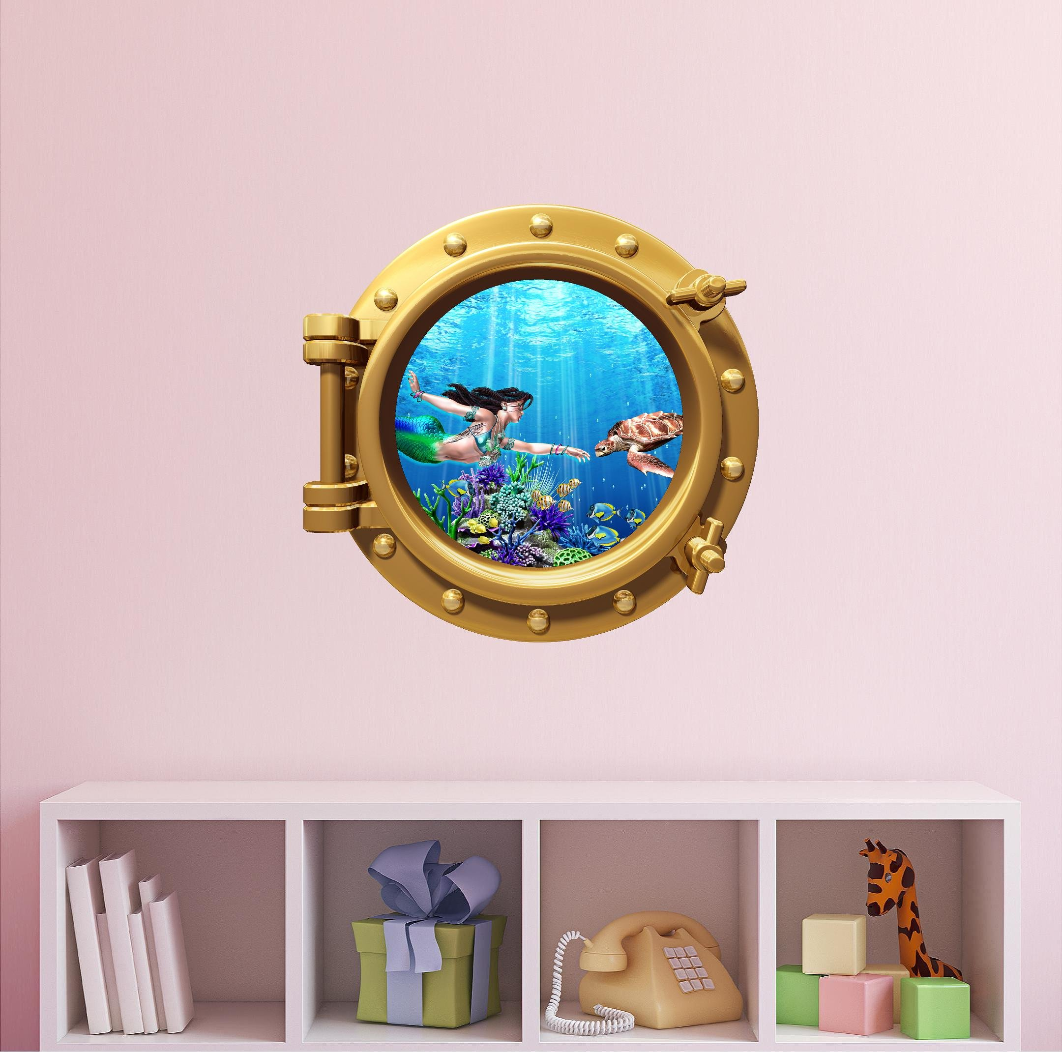 Mermaid Nursery Wall Decal - Ocean Wall Decals - Sea Animal Decals - Mermaid Decals - Mermaid Wall Decals - Porthole Faux Window Mermaid & Sea Turtle #1 BRONZE 24''