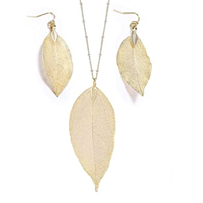 Amazon gold tone natural filigree leaf pendant necklace gold tone natural filigree leaf pendant necklace earring set dangle women jewelry gift gold aloadofball Image collections