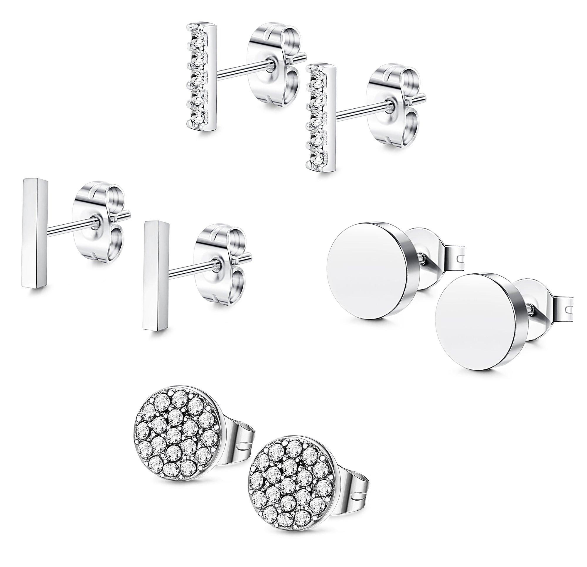 FIBO STEEL Stainless Steel CZ Bar Stud Earrings for Men Women Girls Silver-tone by FIBO STEEL