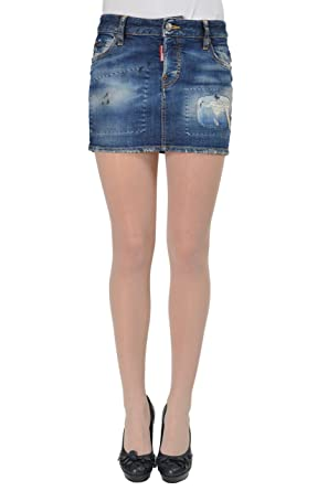 6fb63622f6 Image Unavailable. Image not available for. Color: Dsquared2 Women's  Distressed Denim Mini Skirt ...