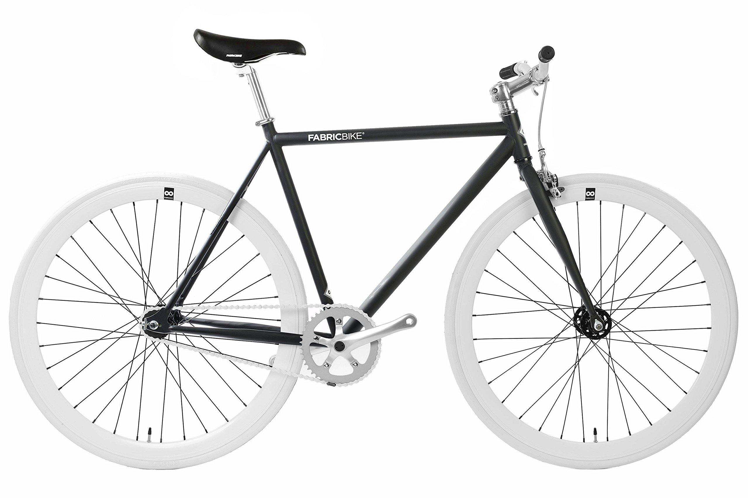FabricBike- V/élo Fixie Noir Fixed Gear Cadre Hi-Ten Acier Single Speed 10Kg