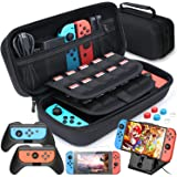 Case Compatible with Nintendo Switch Carry Case Pouch Switch Cover Case 6 Joycon Grips and PlayStand for Nintendo Switch Scre