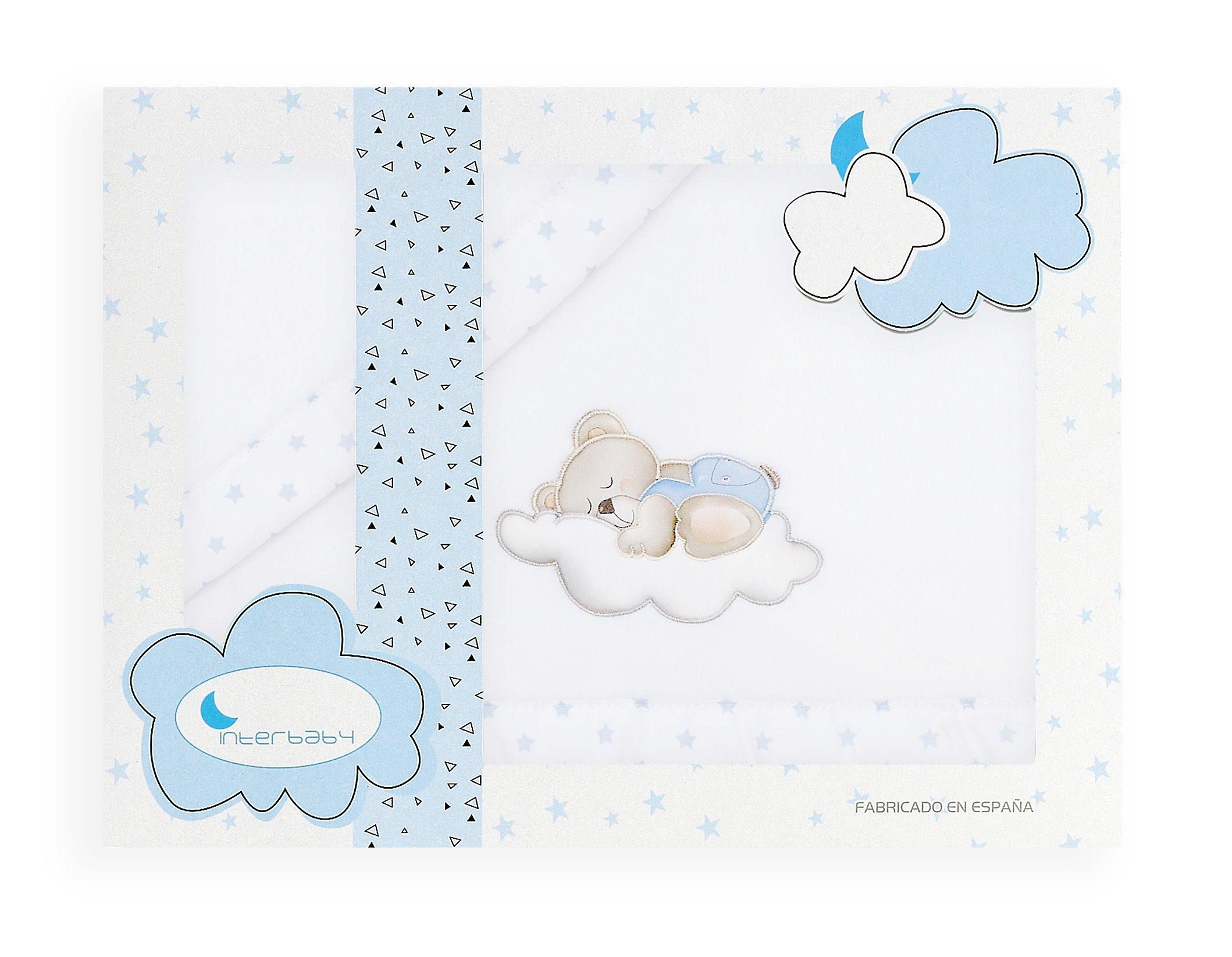 Sabanas de Invierno CORALINA Extrasuave MINICUNA 50x80 - (bajera+encimera+funda almohada) - Color: Blanco/Azul - OFERTA product image