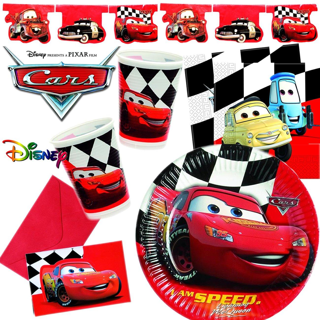 101 Teiliges CARS RED PARTY SET Für Kindergeburtstag Mit 6 10 Kinder:  Teller, Becher, Servietten, Einladungen, Wimpelkette, Luftballons, ...