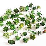Khalee Mixed Artificial Succulent Plants Fake Succulents, (12 Different PCS, Random) (Green)