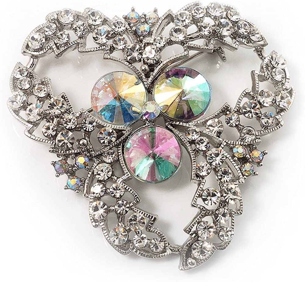 Avalaya Vintage Class Aurora Borealis Crystal Brooch