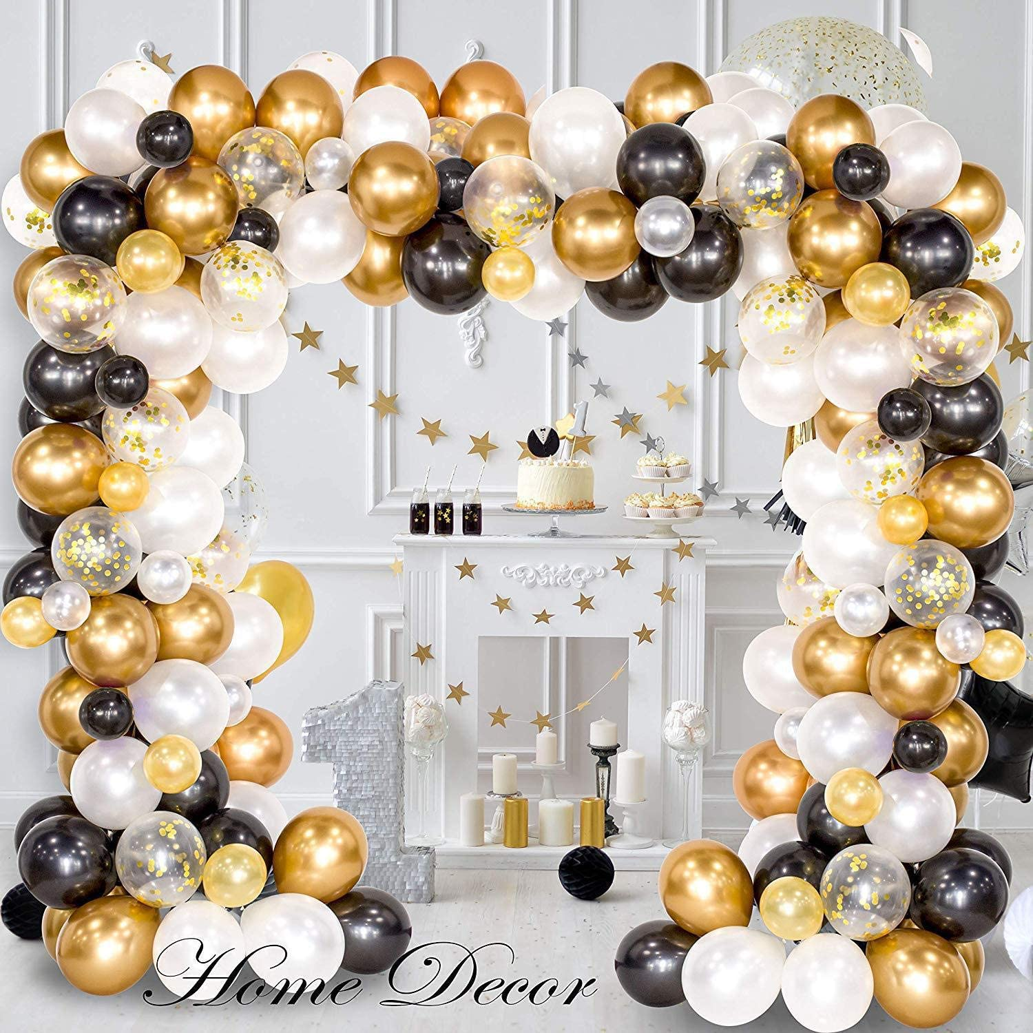 Junxi Balloon Arch & Garland Kit, 120Pcs Black, White, Gold Confetti and Metal Latex Balloons with 1pcs Tying Tool, Balloon Strip Tape for Graduation, Wedding, Birthday Decor
