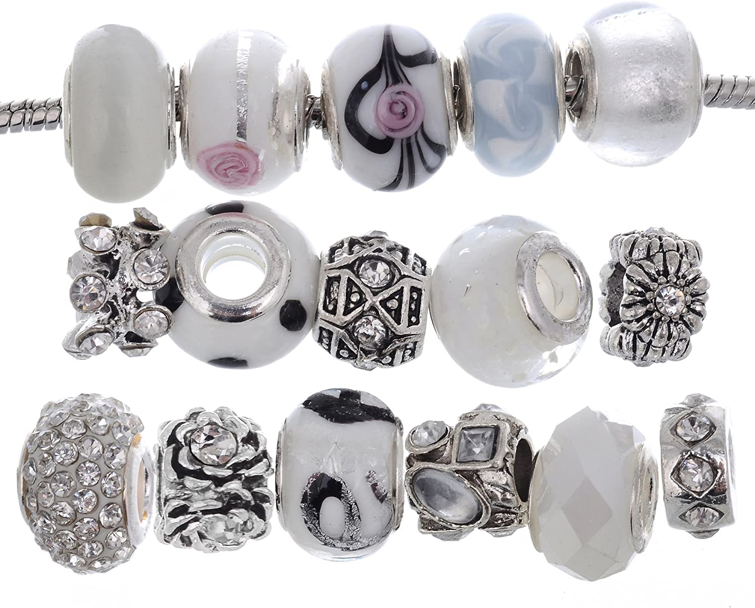 only New 9pc PINKWHITE Glass European charm beads Lampwork Murano /& Crystal Paved Beads Large 5mm hole European spacer lot MA12