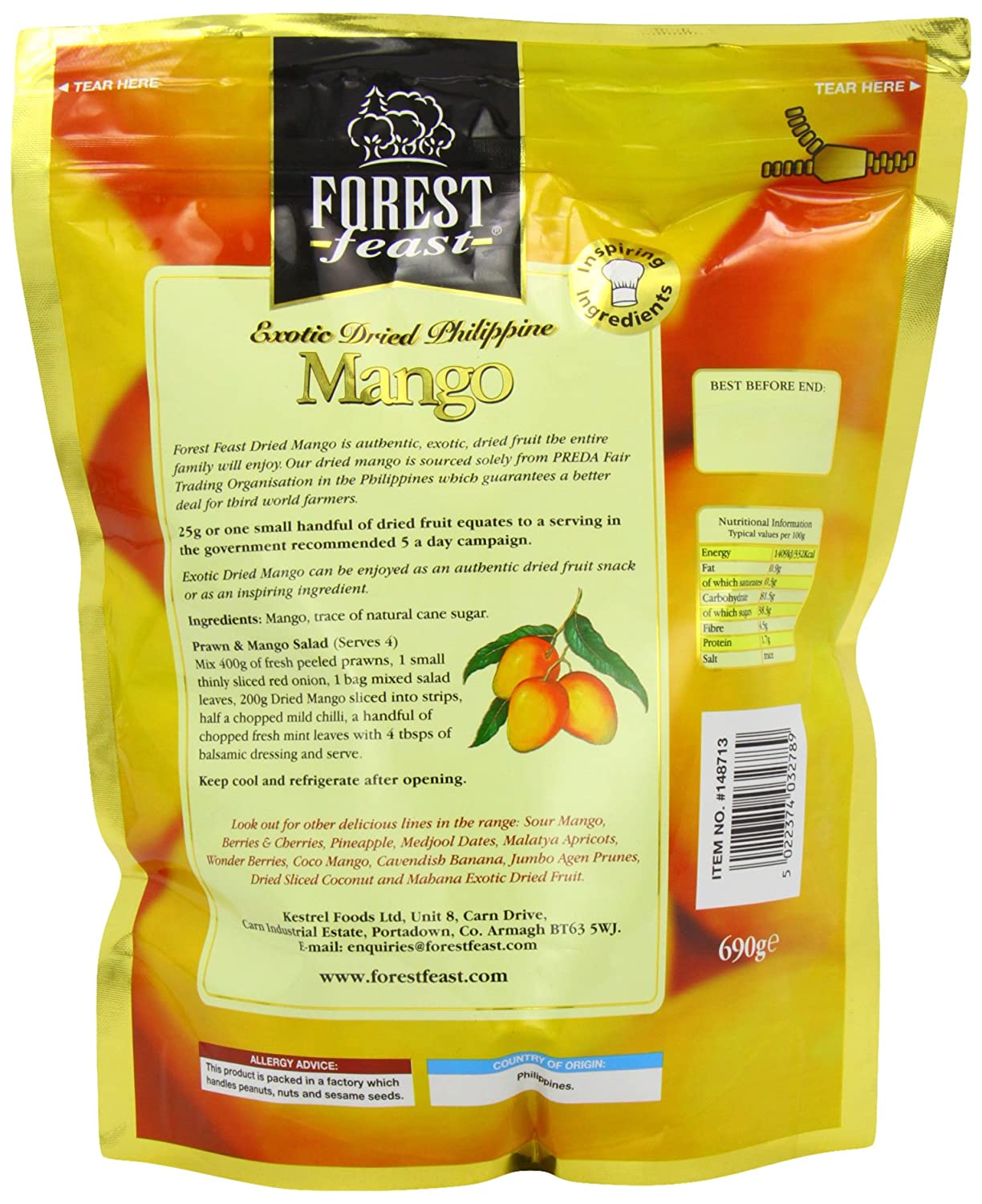 Forest Feast Exotic Dried Philippine Mango 690 G: Amazon: Grocery