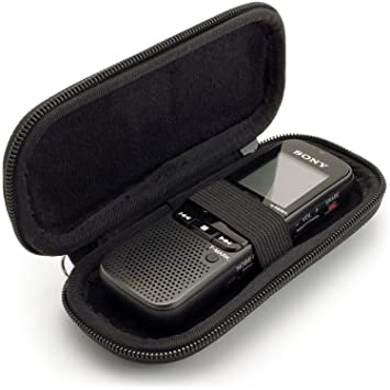 iGadgitz Black EVA Carrying Hard Case Cover Compatible with Sony ICD-BX140, ICD-PX240 370 470 820, ICD-UX560 Digital Voice Recorders