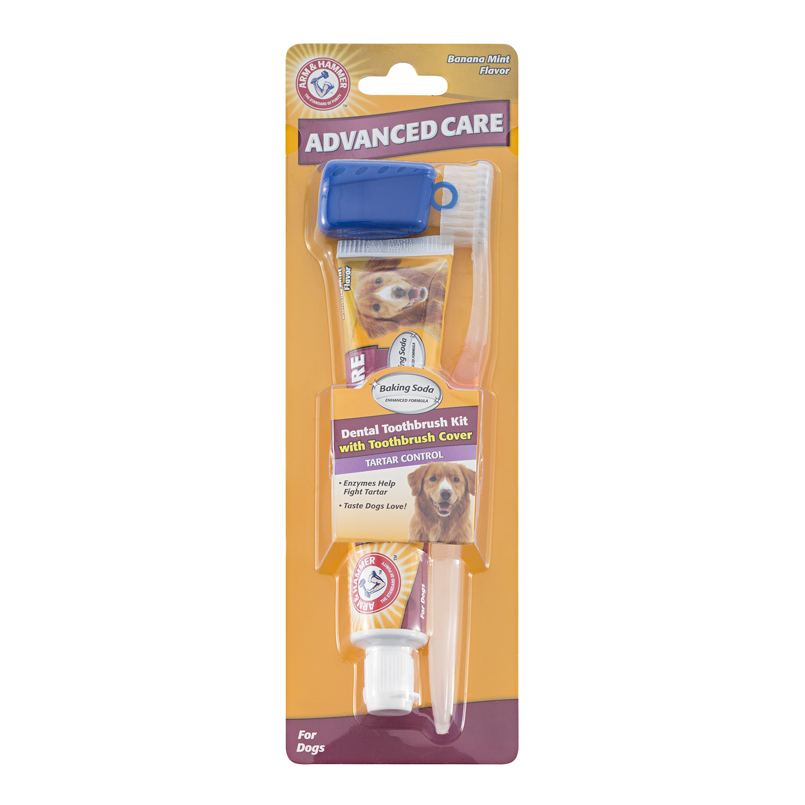 Arm & Hammer Dog Dental Care Tartar Control Kit for Dogs | Contains Toothpaste, Toothbrush & Fingerbrush | Reduces Plaque & Tartar Buildup, 3-Piece Kit, Banana Mint Flavor