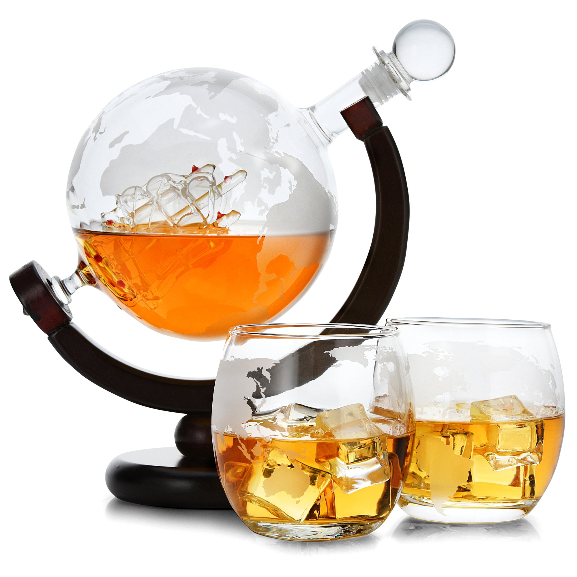 Whiskey Decanter set globe with ship - Wine Decanter set - Scotch Decanter