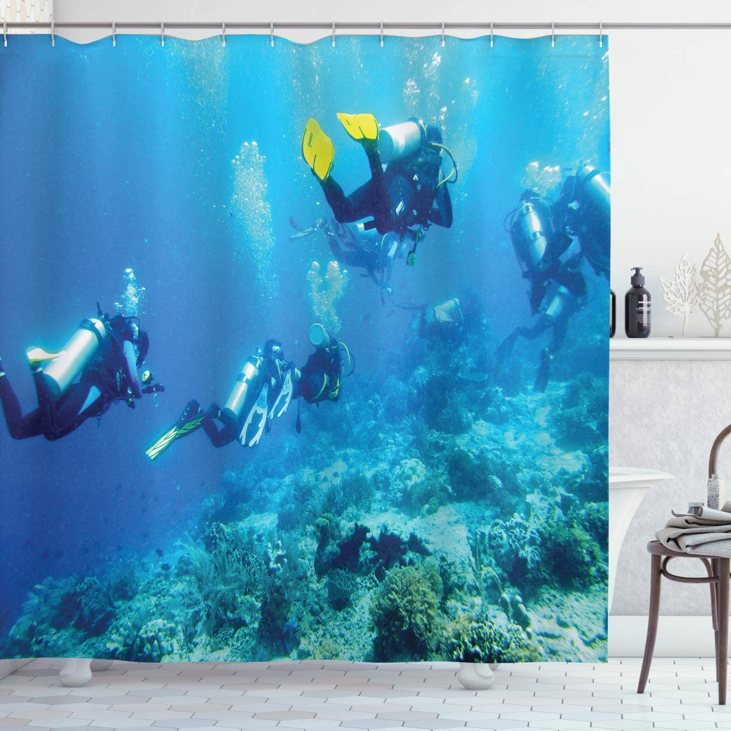 Ambesonne Ocean Shower Curtain, Scuba Diver in Ocean with Stones Rocks Fish Moss and Bubbles Art Photo, Cloth Fabric Bathroom Decor Set with Hooks, 70