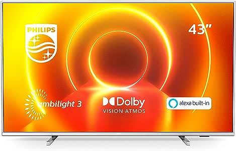 Televisor 4K UHD Ambilight Philips 43PUS7855/12 de 43 pulgadas (P5 Perfect Picture Engine, Asistente Alexa integrada, Smart TV, Función de control por voz), Color plata claro (modelo de 2020/2021): Amazon.es: Electrónica