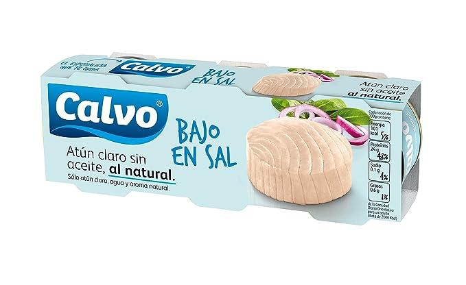 Calvo Atún Claro al Natural, Bajo en Sal - Pack de 3 x 80 g - Total: 240 g: Amazon.es: Amazon Pantry