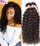 Beauty Forever Hair Brazilian Virgin Curly Hair Weave Pack of 3 Bundles 100% Unprocessed Human Hair Extensions Nature Color (100+/-5g)/ Pc (12 14 16)