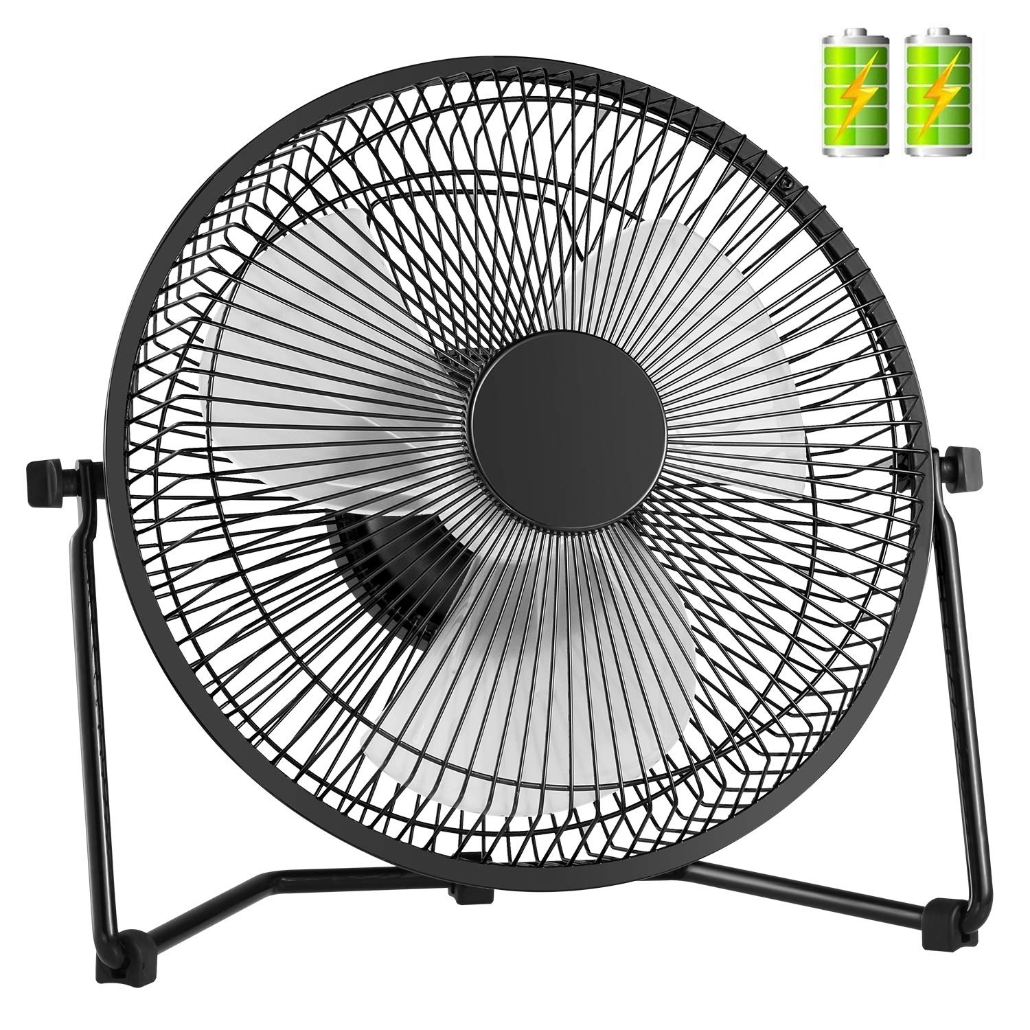 COMLIFE 11 Inch Battery Powered Desk Fan USB Table Fan, Rechargeable Portable Fan with 4400mAh Batteries, Quiet USB Metal Fan for Home, Office, Camping by COMLIFE