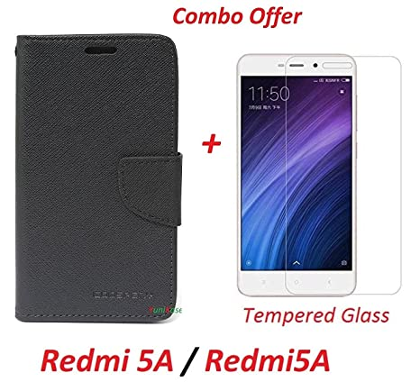 separation shoes 9f142 50379 YuniKase COMBO OFFER Xiaomi Redmi 5A / Redmi5A Flip Cover Case Wallet Style  Cover + Premium Tempered Glass Screen Protector (BLACK)