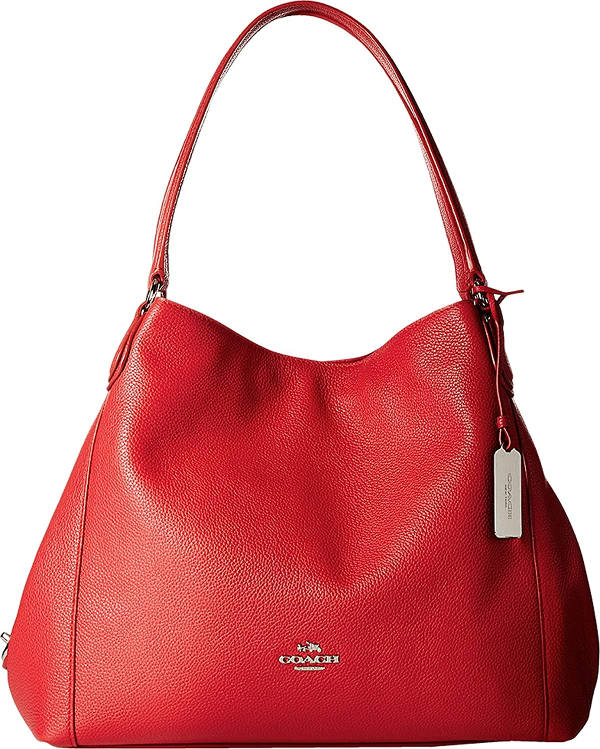 COACH Women's Refined Pebble Leather Edie 31 Shoulder Bag SV/True Red Shoulder Bag