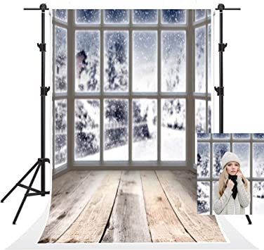 Winter 10x12 FT Photo Backdrops,Winter Scene in a Park with Trees Foggy Misty Blurry Ice Cold Freezing Weather Image Background for Baby Birthday Party Wedding Vinyl Studio Props Photography White