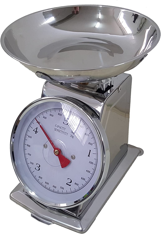 Euronovità - Báscula de cocina inoxidable, 5 kg, mecánica analógica, de estilo retro, de metal con plato de acero: Amazon.es