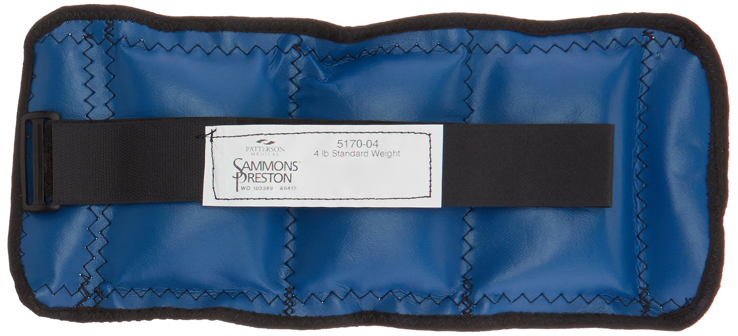 Sammons Preston Cuff Weight, 4 lb, Blue, Velcro Strap & D-Ring Closure, Grommet for Easy Hanging, Steel Ankle & Wrist Weights are Lead Free, Exercise Tool for Strength Building & Injury Rehab by Sammons Preston (Image #2)