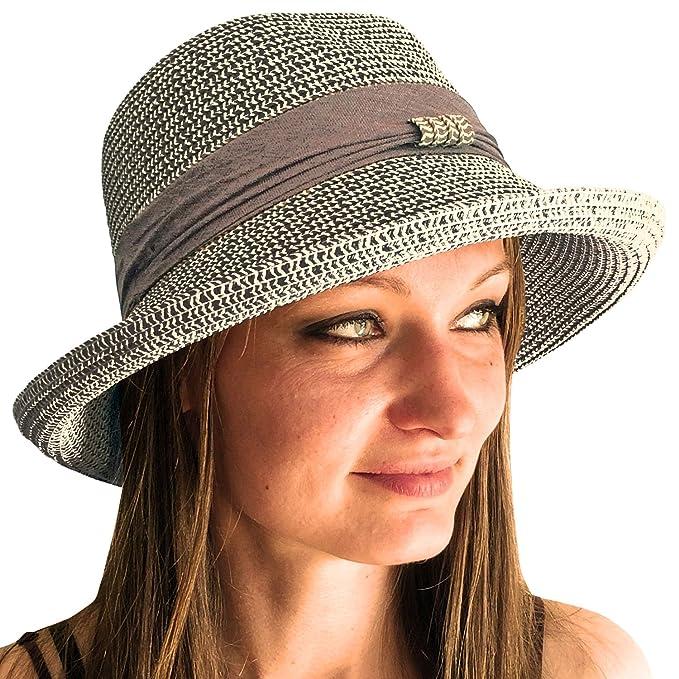0aa1b5d235202 TOSKATOK® Ladies Womens Adjustable Summer Sun Hat Fashion Foldable Roll  Brim Trilby Bowler  Amazon.co.uk  Clothing