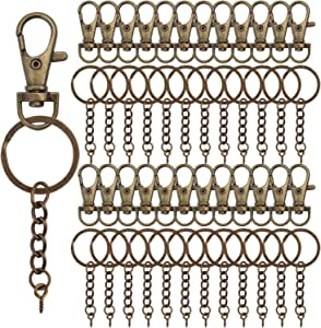 50 Pieces Metal Swivel Clasps Lanyard Snap Hook Lobster Claw Clasp and Key U4I4