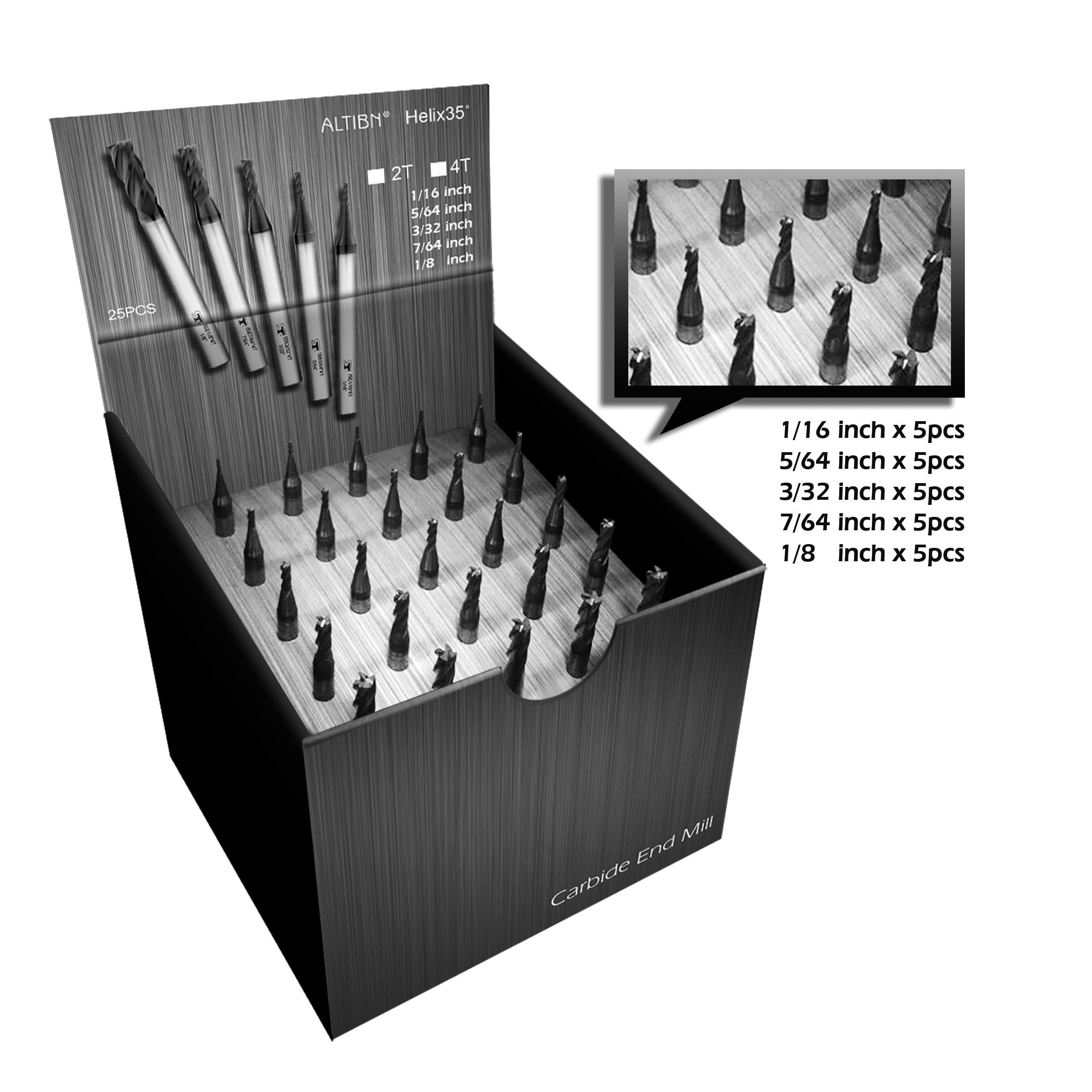 SPEED TIGER ISE Carbide Square End Mill 25 Piece Set - Micro Grain Carbide End Mill for Alloy Steels/Hardened Steels - AlTiBN Coating - 4 Flute - ISE-SET-4T - Fractional by SPEED TIGER
