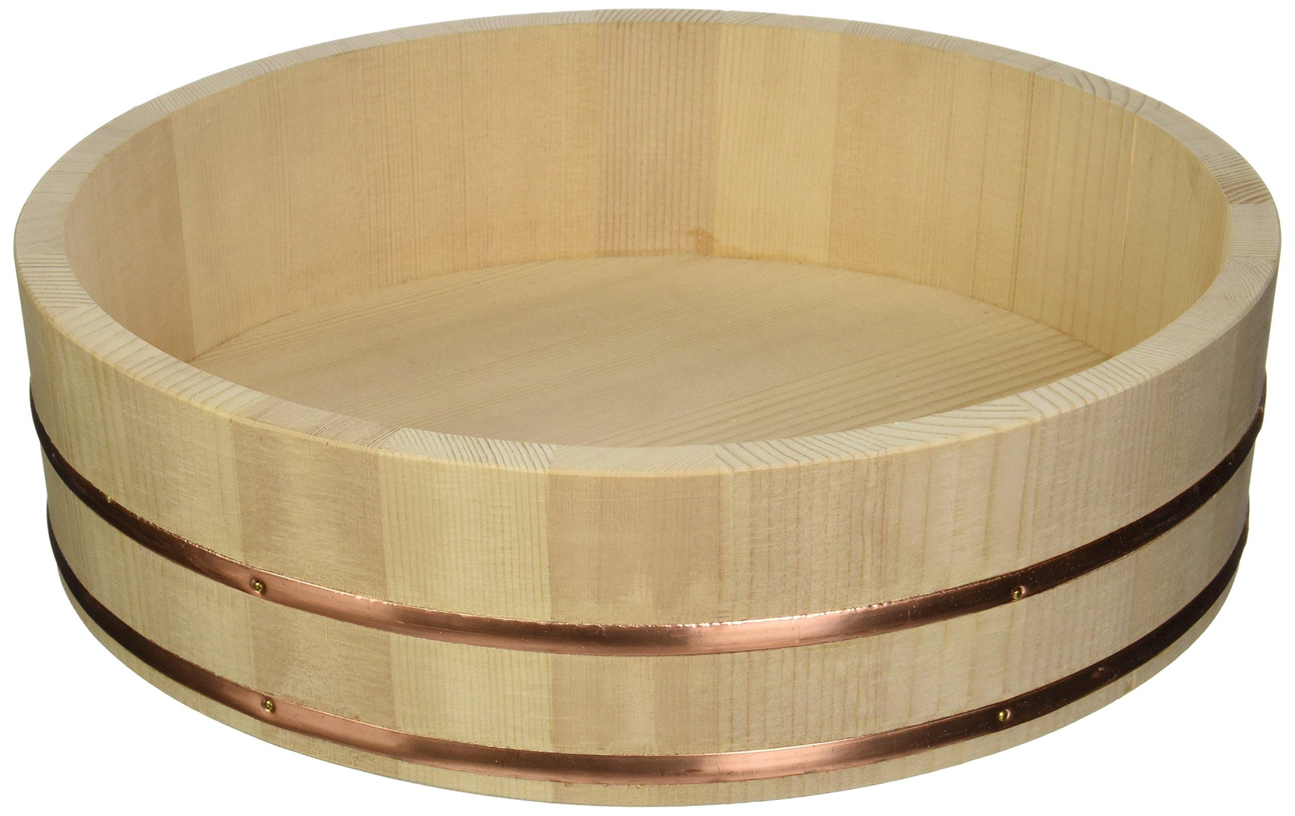 "Happy Sales Wooden Sushi Oke Hangiri Mixing Bowl, 14"", Natural"